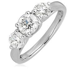 1.50ct H SI2 Fire Light Lab Grown Diamond Brilliant Cut Trilogy Ring 18ct Gold