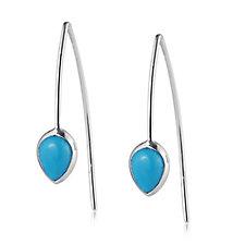 Sleeping Beauty Turquoise Pear Threader Earrings Sterling Silver