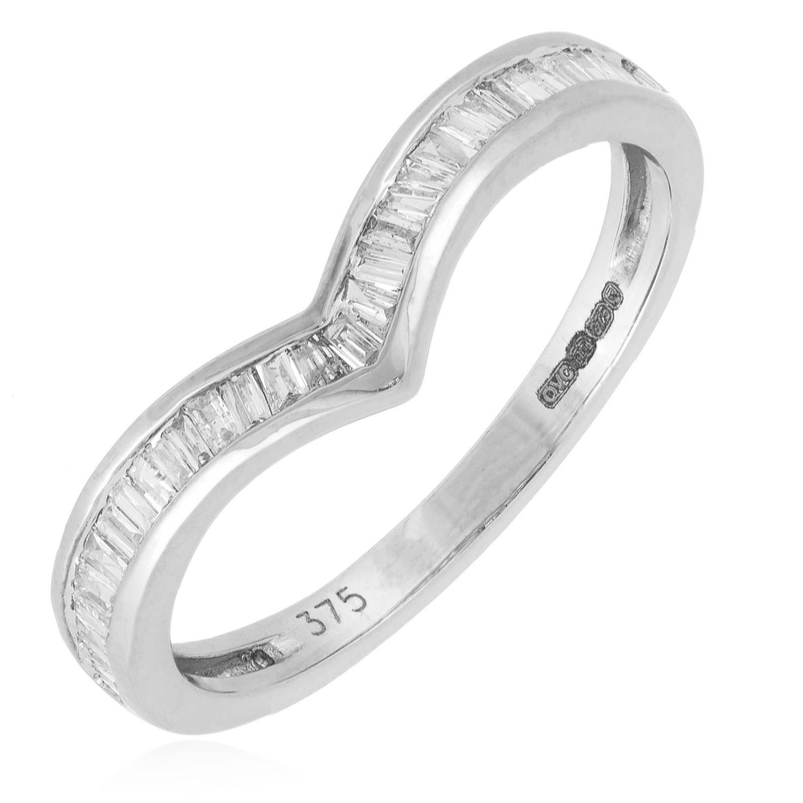 9b8d63bfe5b95f 0.20ct Diamond Baguette Cut Wishbone Ring 9ct Gold - QVC UK