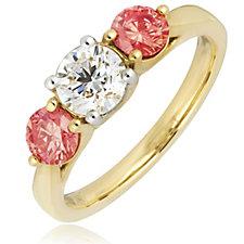 1.50ct H SI2 Fire Light Lab Grown Pink & White Diamond Trilogy 18ct Gold Ring