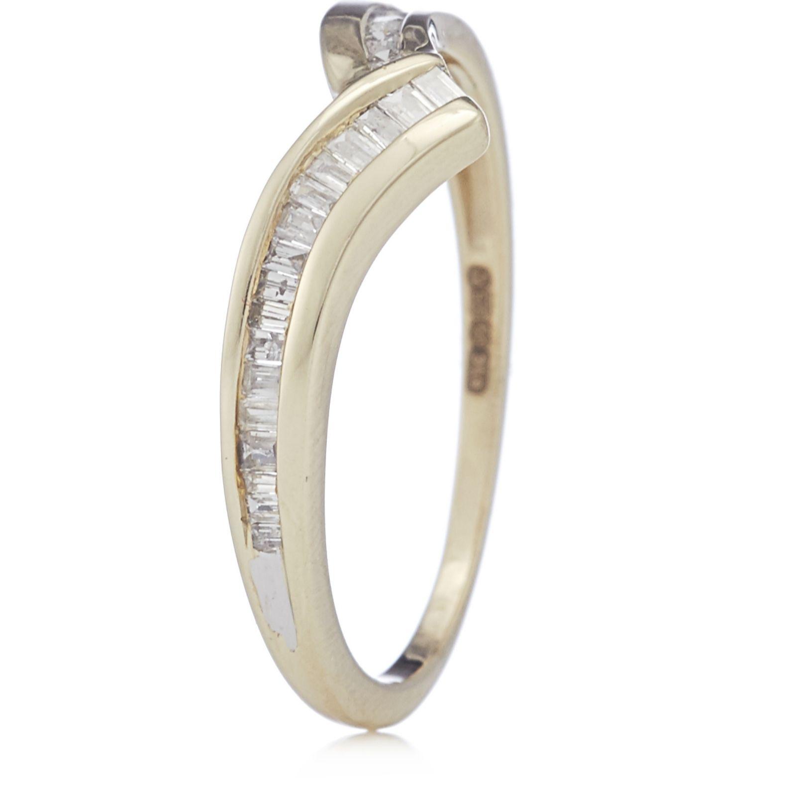 5ea159454f9bfc Outlet 0.20ct Diamond Mixed Cut Wishbone Ring 9ct Gold - QVC UK