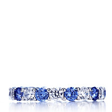 Diamonique 3.4ct tw Simulated Gemstone Eternity Ring Sterling Silver