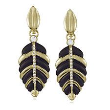 Roberto by RFM Black & Gold Tone Leaf Drop Earrings