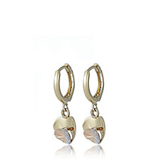 9ct Gold Tri Colour Diamond Cut Heart Drop Huggie Earrings