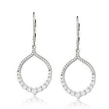 Diamonique 1ct tw Leverback Drop Earrings Sterling Silver