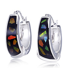 Canadian Ammolite Elements Hoop Earrings Sterling Silver
