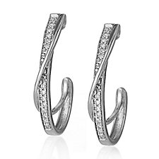 0.07ct Diamond Hoop Earrings 9ct Gold