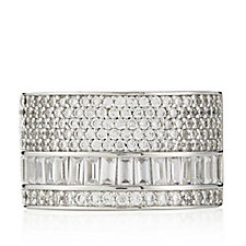 Diamonique 1.3ct tw Baguette Pave Wide Band Ring Sterling Silver