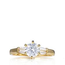Diamonique 1.1ct tw Solitaire & Baguette Ring Sterling Silver