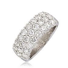 2.50ct H SI2 Fire Light Lab Grown Diamond Triple Row Band Ring 18ct Gold