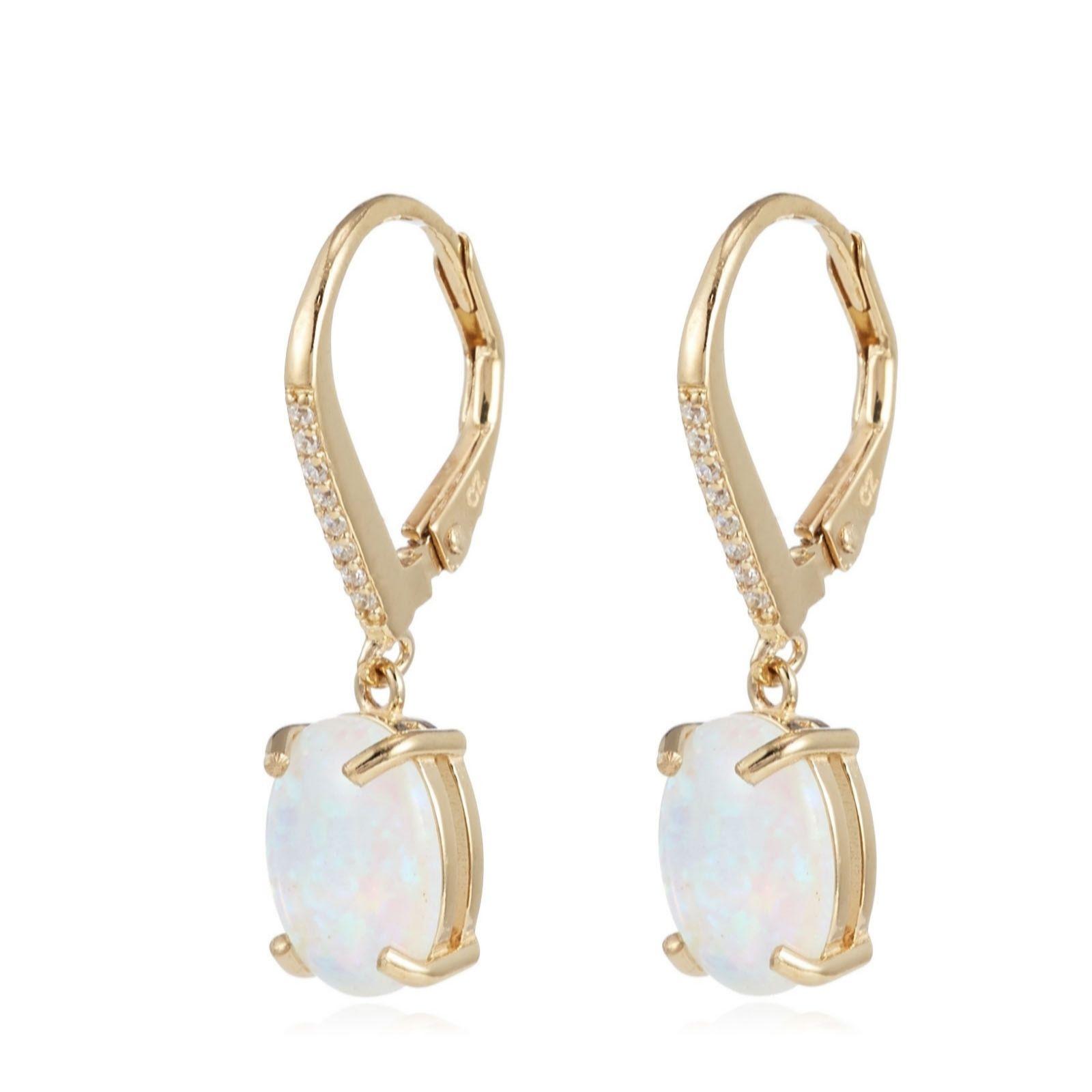 3f3c3deea Diamonique 1.5ct tw Simulated Opal Earrings Sterling Silver - QVC UK