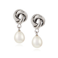 Honora 8mm Cultured Pearl Twisted Knot Dangle Earrings Sterling Silver