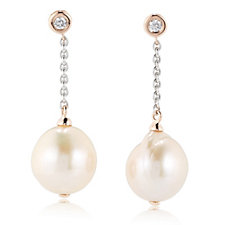 Honora 12-14mm Ming Pearl 0.12ct Diamond Drop Earrings 14ct Gold