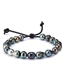 9-10mm Cultured Round Tahitian Pearl Adjustable Leather Cord Bracelet