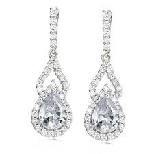 Diamonique 2.7ct tw Drop Earrings Sterling Silver