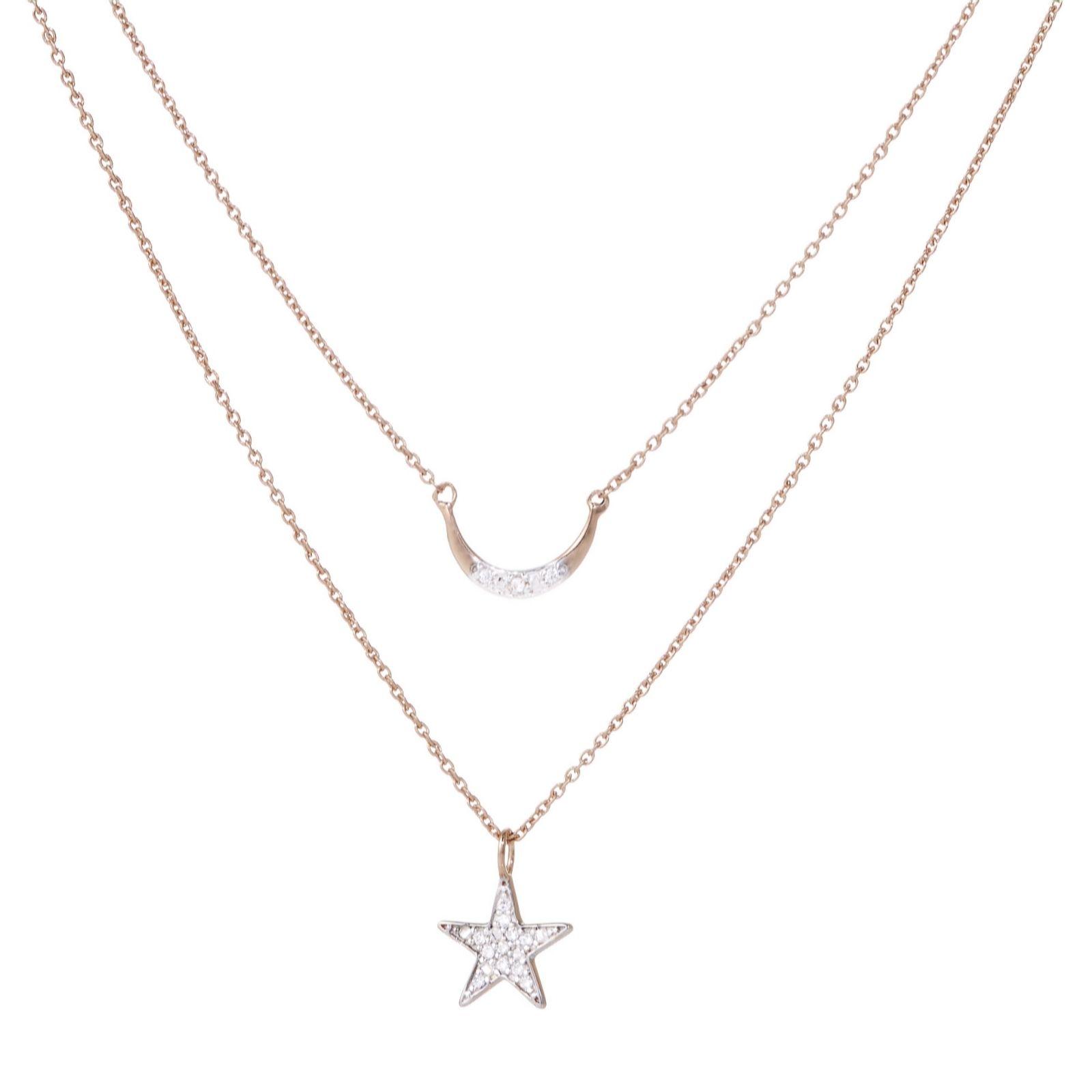 7136765641 Lisa Snowdon Diamond Star & Moon Set of 2 Pendants Sterling Silver - QVC UK