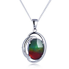 Canadian Ammolite Oval Pendant & Chain Sterling Silver