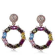 Diamonique 4.34ct tw Multi Coloured Drop Earrings Sterling Silver