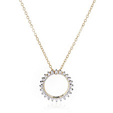 0.10ct Diamond Circle Pendant 45cm Necklace 9ct Gold