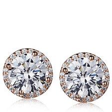 Diamonique 4.3ct tw Halo Stud Earrings Sterling Silver