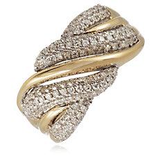 0.50ct Diamond Pave Twist Band Ring 9ct Gold