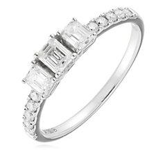 0.75ct Diamond VS-SI Certified Emerald Cut Trilogy Ring 18ct Gold