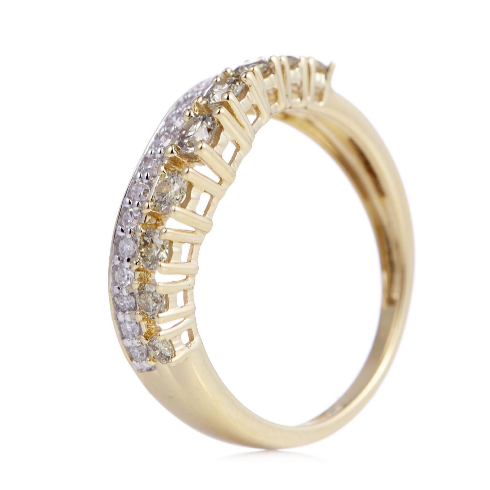 745ab337c89452 0.50ct Coloured Diamond Wishbone Ring 9ct Gold - QVC UK