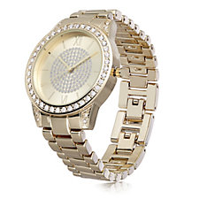 Gossip Gold Tone Pave Crystal Dial Watch