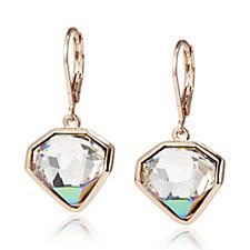 Aurora Swarovski Crystal Diamond Shape Leverback Drop Earrings