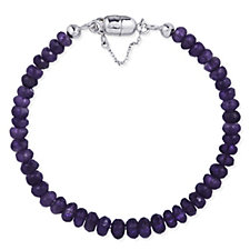 38ct Amethyst Faceted Bead Bracelet with Magnetic Clasp Sterling Silver
