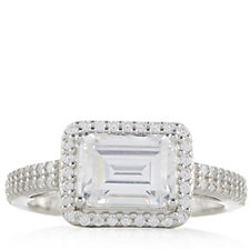 Diamonique 1.8ct tw Emerald Cut East West Ring Sterling Silver