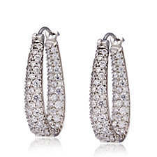 Michelle Mone for Diamonique 2ct tw Pave Hoop Earrings Sterling Silver
