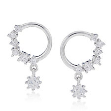 Diamonique 0.2ct tw Front Drop Hoop Earrings Sterling Silver