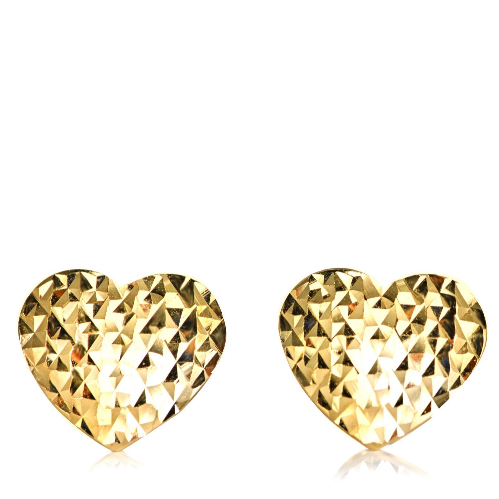 6fc1adb50 9ct Gold Diamond Cut Heart Stud Earrings - QVC UK