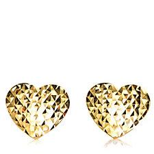 9ct Gold Diamond Cut Heart Stud Earrings