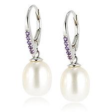 Honora 9-9.5mm Cultured Pearl & Gemstone Leverback Earrings Sterling Silver