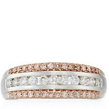 0.50ct Pink & White Diamond Band Ring 9ct Gold