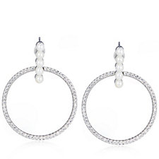 Diamonique 1.2ct tw Simulated Pearl & Pave Hoop Earrings Sterling Silver