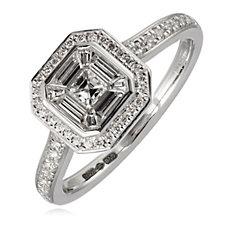 0.67ct Diamond Asscher Cut Setting Ring Platinum