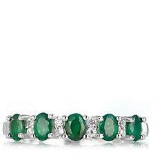 0.75ct Emerald Half Eternity Ring Sterling Silver