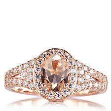 Diamonique 1.9ct tw Simulated Morganite Ring Sterling Silver