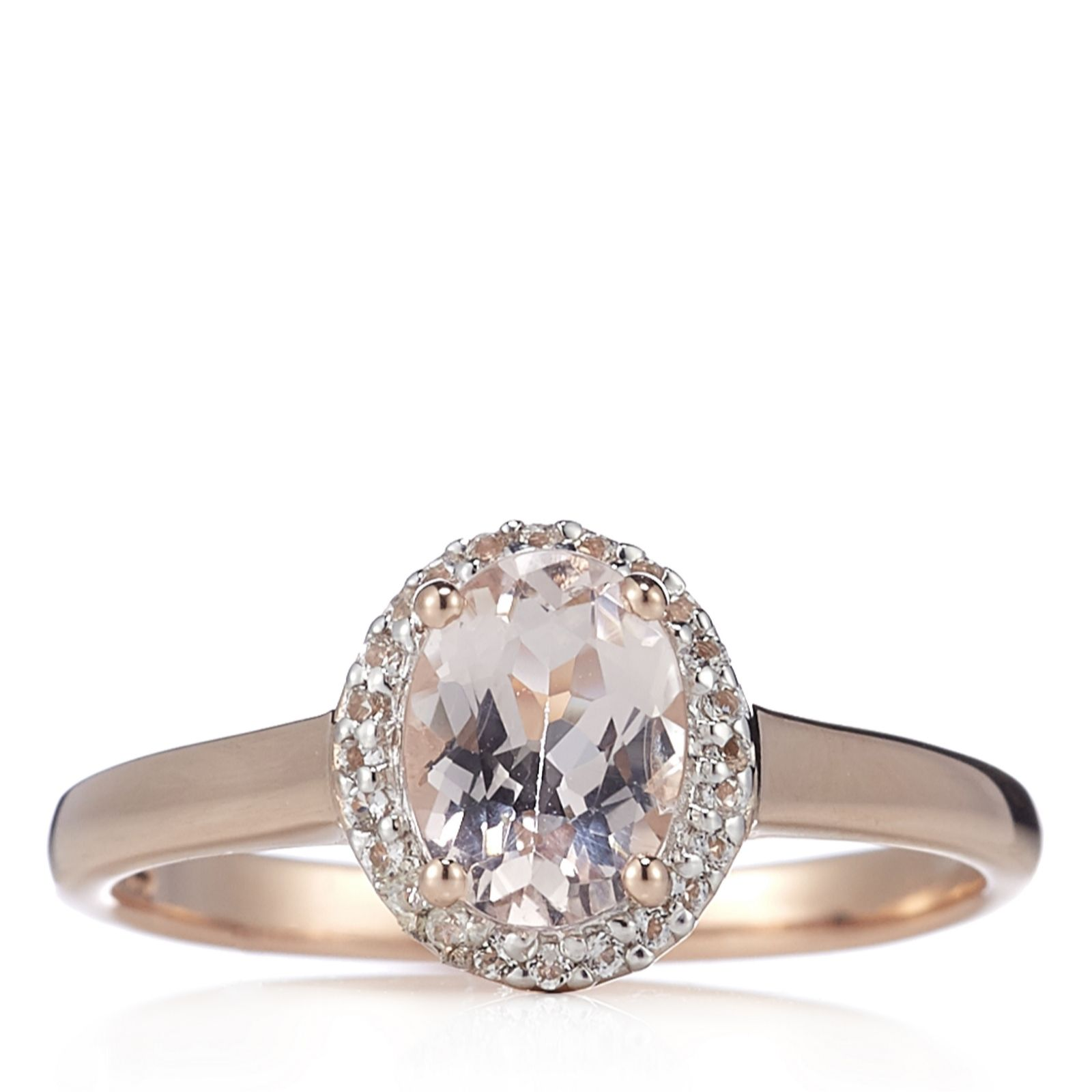 e6e43310b0536 Outlet 1ct Morganite Solitaire Ring Rose Gold Vermeil Sterling Silver - QVC  UK