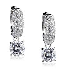 Diamonique 1.6ct tw Pave Half Hoop Drop Earrings Sterling Silver