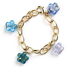 Murano Glass Floral Charm 20cm Bracelet 18ct Gold Plated