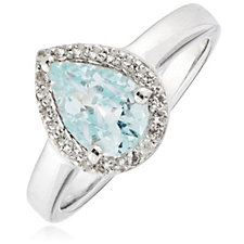 1ct Aquamarine Pear Halo Ring Sterling Silver