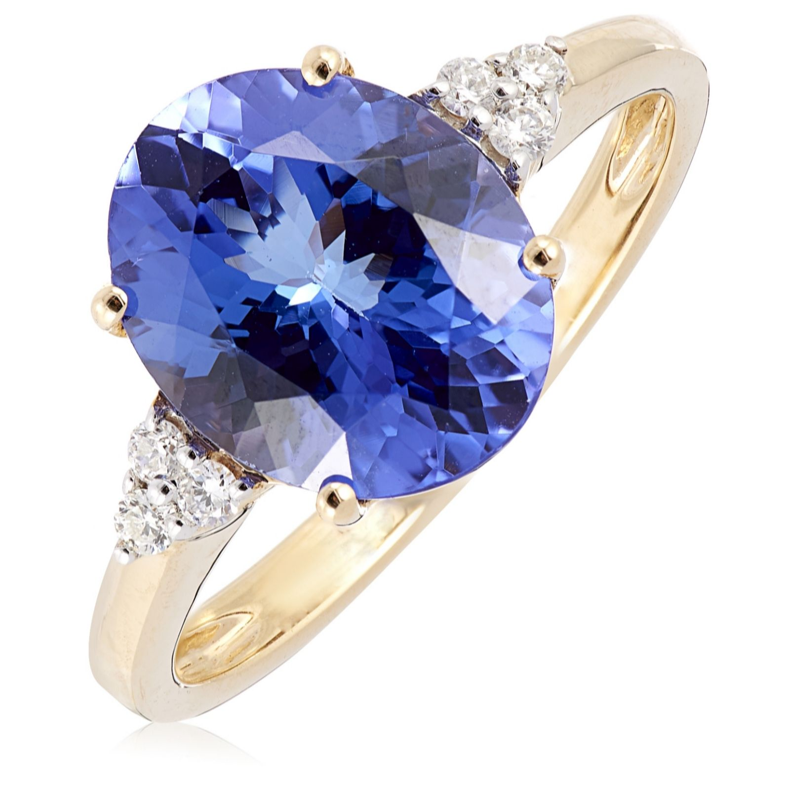 b153067cad5fe 3.25ct AAAA Tanzanite & Diamond Accent Oval Solitaire Ring 18ct Gold - QVC  UK