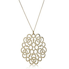 14ct Gold Delicate Lace Filigree Pendant & 46cm Chain