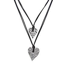 Frank Usher Double Heart Drop 104cm Necklace