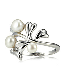 Honora Cultured Pearl Leaf Design Ring Sterling Silver