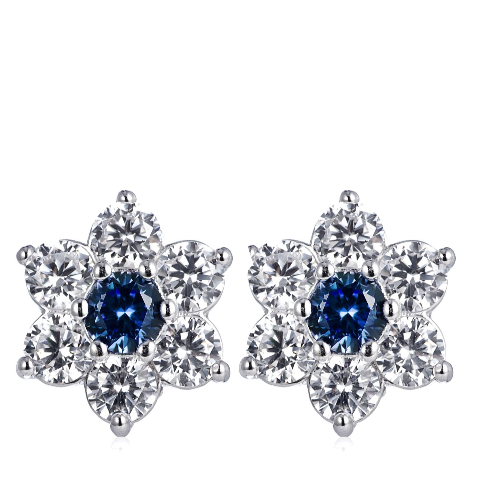 19a4f9b01 Diamonique 1.5ct tw Simulated Gemstone Cluster Stud Earrings Sterling Silver  - QVC UK